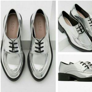 Zara silver retro loafer oxford